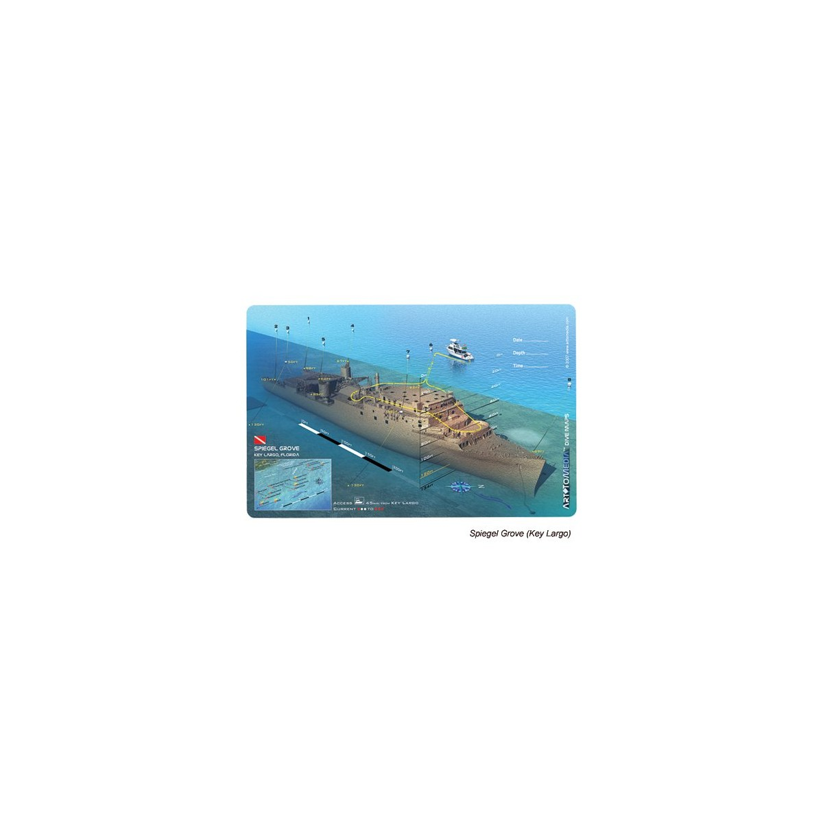 Spiegel Grove in Key Largo, Florida (8.5 x 5.5 Inches) (21.6 x 15cm) - New Art to Media Underwater Waterproof 3D Dive Site Map