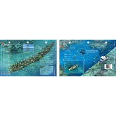 Molasses Reef in Key Largo, Florida (8.5 x 5.5 Inches) (21.6 x 15cm) - New Art to Media Underwater Waterproof 3D Dive Site Map