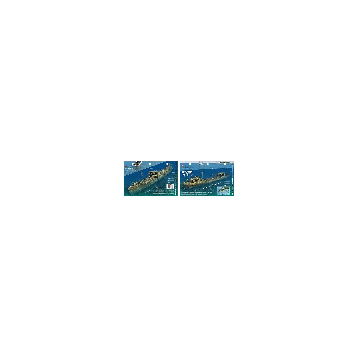 Shinkoku in Truk Lagoon, Micronesia (8.5 x 5.5 Inches) (21.6 x 15cm) - New Art to Media Underwater Waterproof 3D Dive Site Map