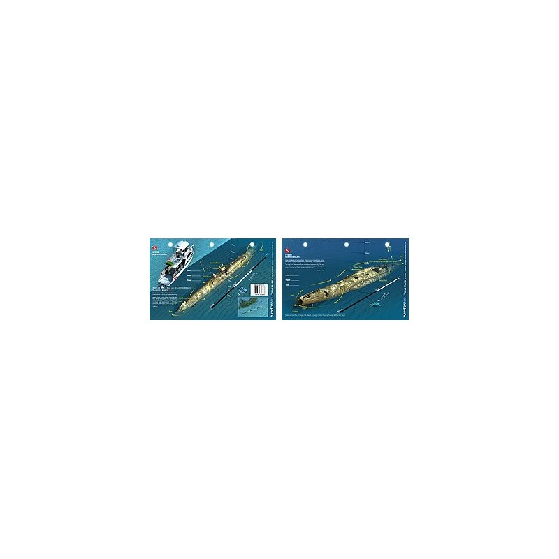U352 off of North Carolina (8.5 x 5.5 Inches) (21.6 x 15cm) - New Art to Media Underwater Waterproof 3D Dive Site Map