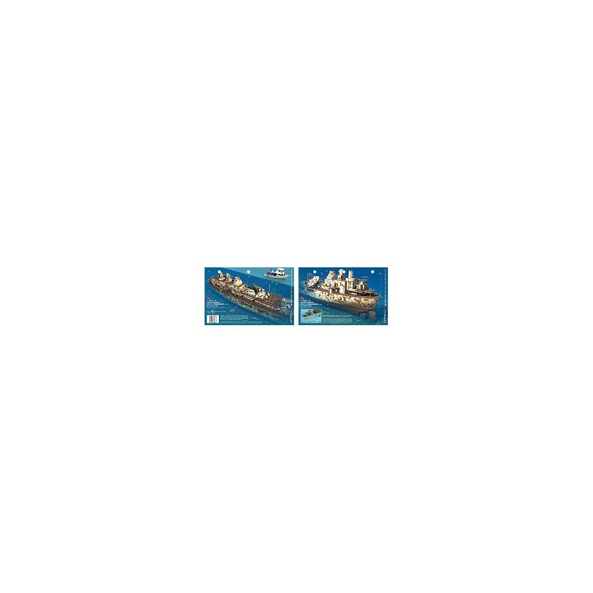 Vandenberg Stern in Key West, Florida (8.5 x 5.5 Inches) (21.6 x 15cm) - New Art to Media Underwater Waterproof 3D Dive Site Map