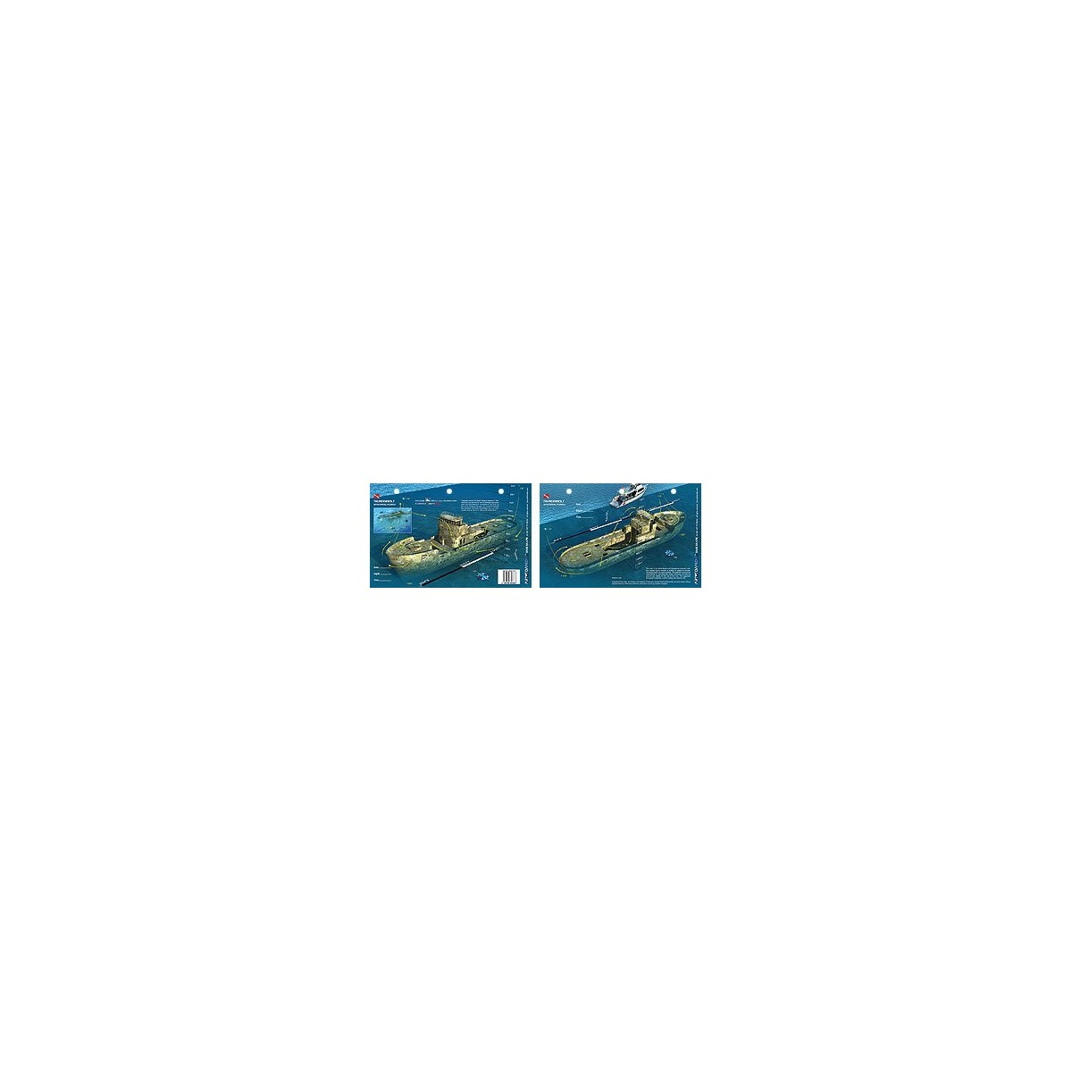 Thunderbolt in Marathon Key, Florida (8.5 x 5.5 Inches) (21.6 x 15cm) - New Art to Media Underwater Waterproof 3D Dive Site Map