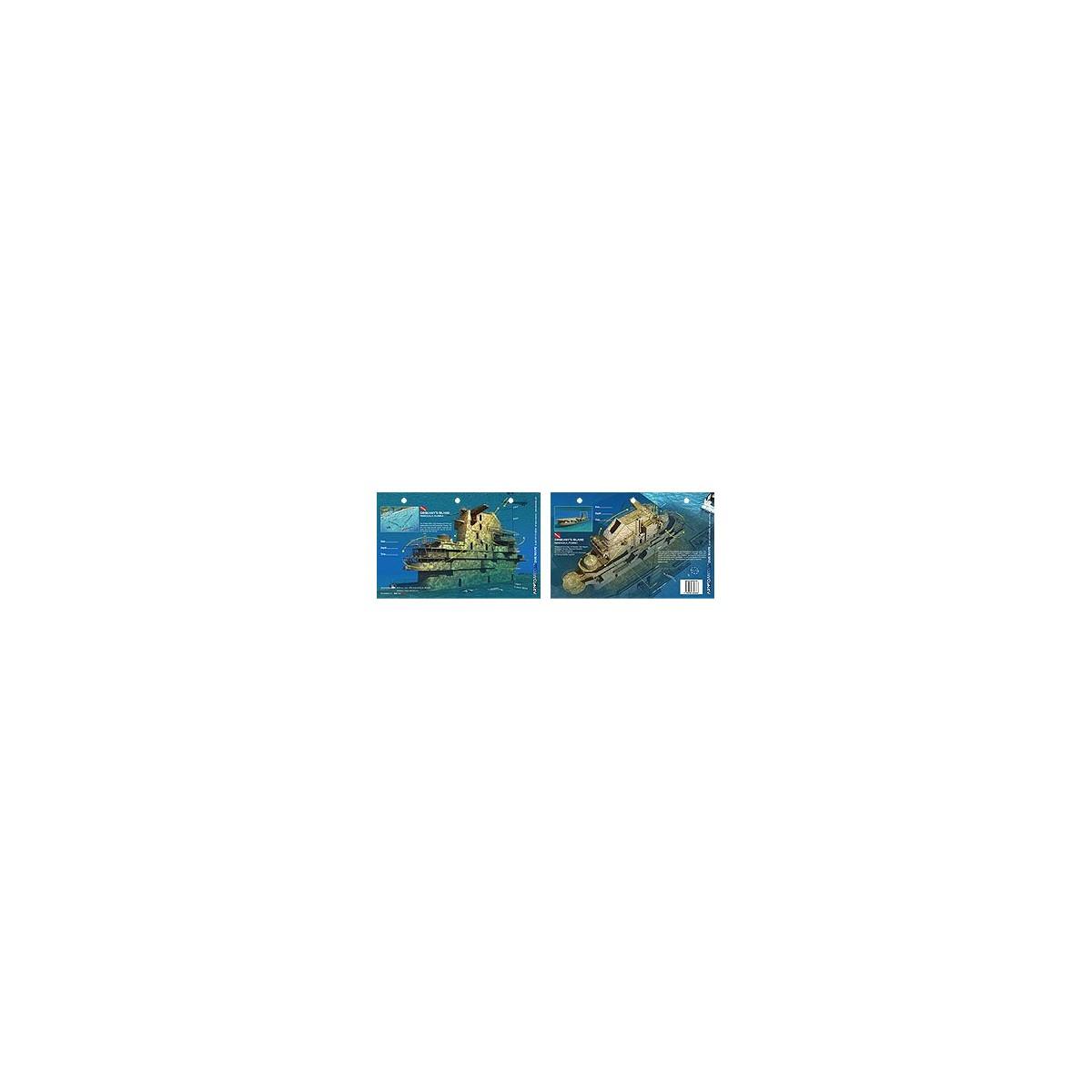 Oriskany`s Island in Pensacola, Florida (8.5 x 5.5 Inches) (21.6 x 15cm) - New Art to Media Underwater Waterproof 3D Dive Site M