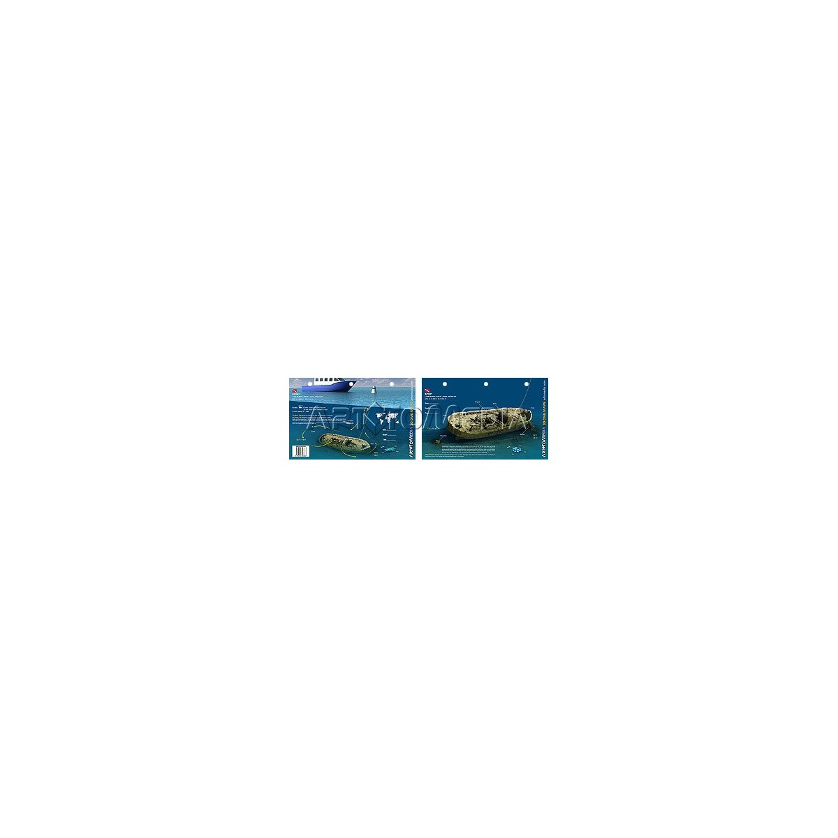 Sport Tug in Lake Huron (8.5 x 5.5 Inches) (21.6 x 15cm) - New Art to Media Underwater Waterproof 3D Dive Site Map