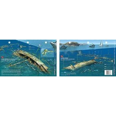 Rhone Bow in British Virgin Islands (8.5 x 5.5 Inches) (21.6 x 15cm) - New Art to Media Underwater Waterproof 3D Dive Site Map