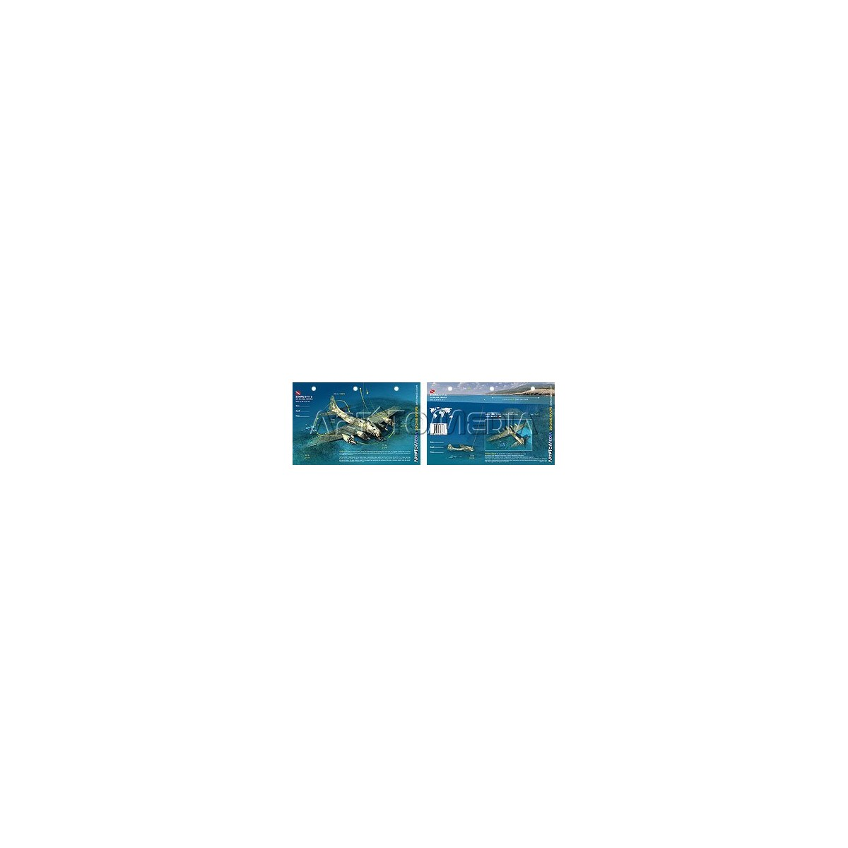 Boeing B-17 G in Croatia (8.5 x 5.5 Inches) (21.6 x 15cm) - New Art to Media Underwater Waterproof 3D Dive Site Map
