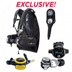 Aqua Lung Travel Package: Zuma BCD, Mikron Regulator, i300 2 Gauge Dive Computer Console, ABS Octopus & Mesh Duffel Bag